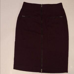 Worthington 14 burgundy pencil zipper long skirt